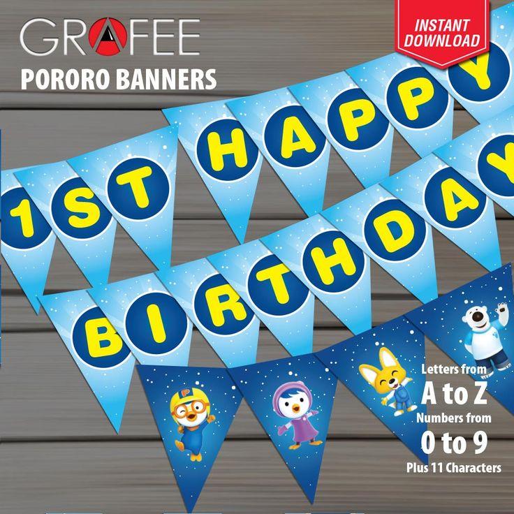 Pororo Printable Banners - Pororo Pennants - Pororo Bunting Flag - Pororo Birthday Party Decoration - INSTANT DOWNLOAD by GrafeePrintables on Etsy