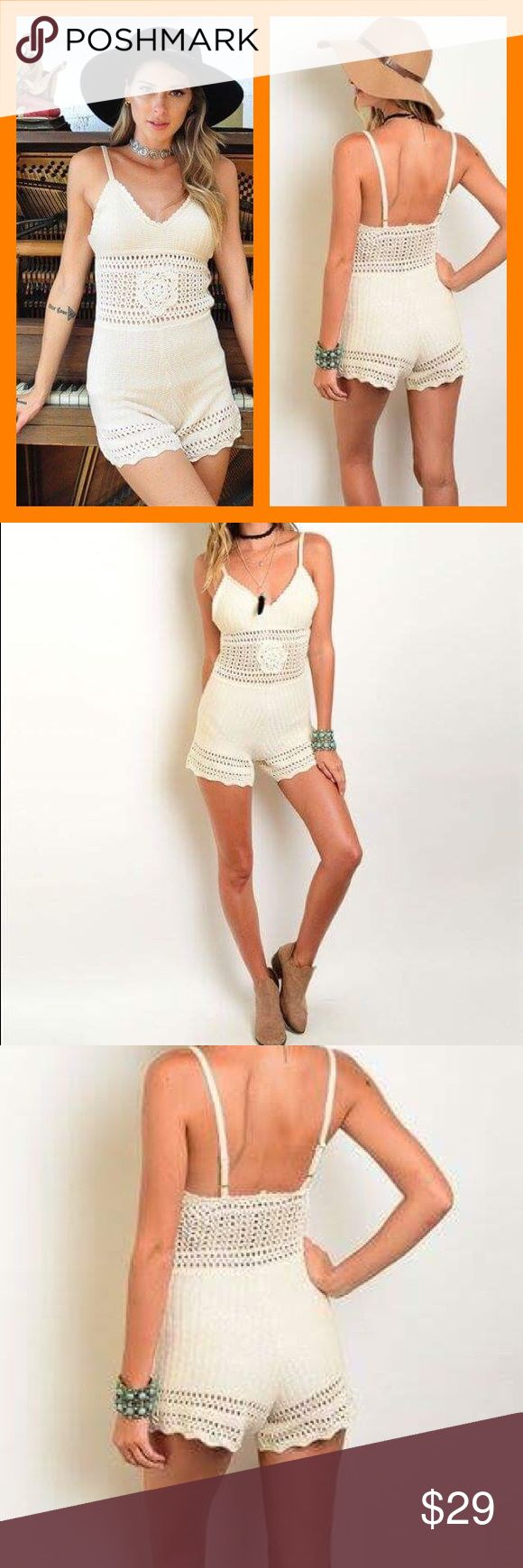 """Cream crochet romper Super tranny crochet romper featured spaghetti straps a V neck line and a fitted silhouette . 100% cotton L 36"""" w 24"""" I.s 3 1/2"""". Shipping may take up to 2 weeks . Pants Jumpsuits & Rompers"""