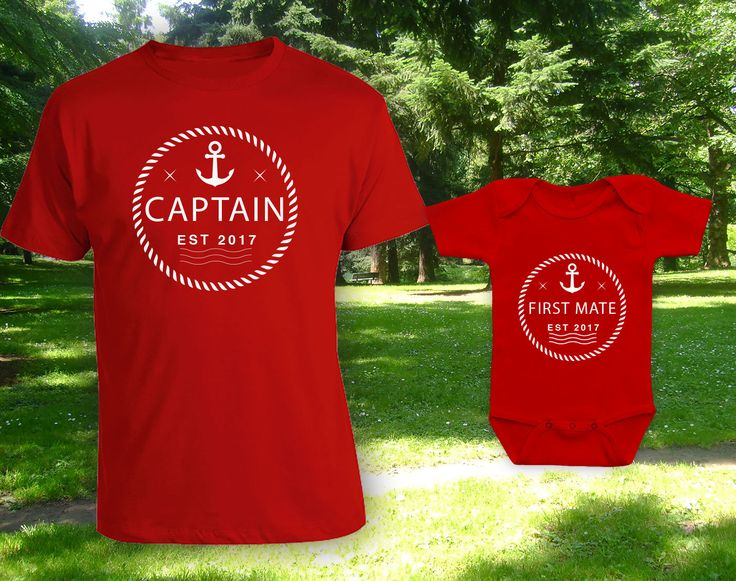 Captain/ First Mate father son daughter matching shirts,father's day gift,gift for dad,when is fathers day,new dad gift,bodysuit-CCB-607-608 by CottonCandyBabyGifts on Etsy