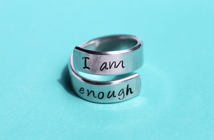 I am enough  - hand stamped ring - very sturdy ring - great gift - fun piece of jewelry by smmade on Etsy https://www.etsy.com/listing/197568144/i-am-enough-hand-stamped-ring-very