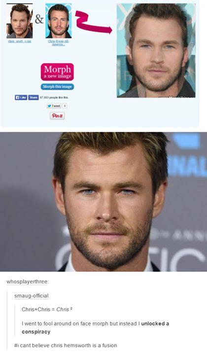 The Chris Conspiracy. Chris Pratt,  Chris Evans, and Chris Hemsworth