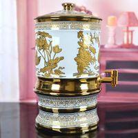 Cilindro de cerâmica tanque de armazenamento de garrafa de água fria garrafa refrigerador de vinho espumante altar Yuanyang lótus dourada 7 L