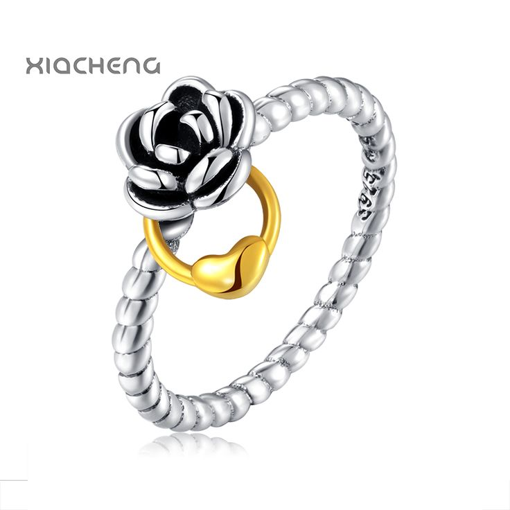 100% 925 Sterling Silver Ring With Golden Love Silver Beautiful Rose Buckle Ring For Women Fit Pandora Jewelry R51