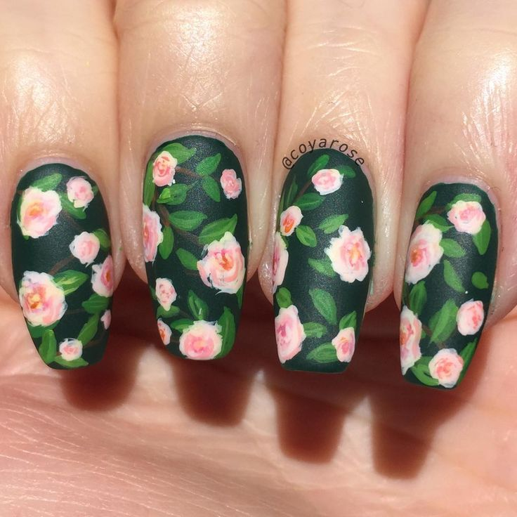 Floral vintage rose nails nail art