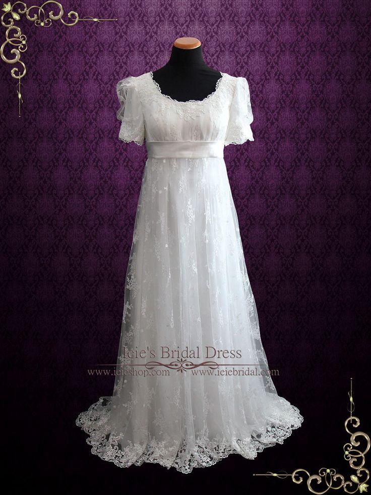 Regency Style Lace Wedding Dress with Empire Waist   Amiee   Ieie's Wedding Dress Boutique https://www.ieiebridal.com/collections/vintage-style-wedding-dresses #LaceWeddingDress