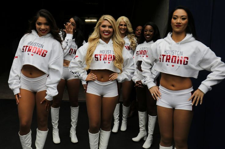 Texan cheerleaders wait to perform while wearing Houston Strong tops during the Houston Texans NFL football game following the aftermath of tropical storm Harvey in Houston, Texas, U.S., September 10, 2017. REUTERS/Mike Blake
