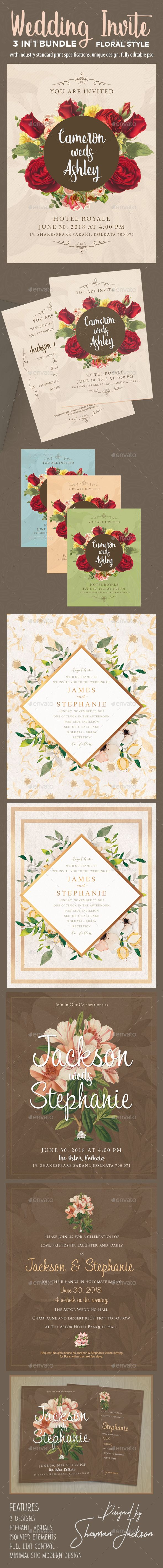 standard size wedding invitation%0A Floral Wedding Invitation Bundle