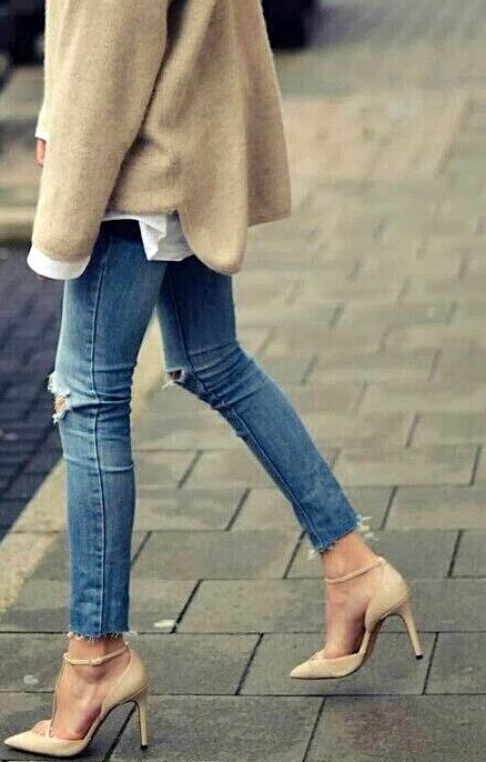Jeans and nude pumps -- perfection.
