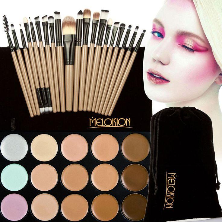 15 Colores de La Cara Colorete Corrector Paleta + 20 Unids Mango De Madera Pinceles de Maquillaje Base Fundación Polvo Facial Pinceles Correctores