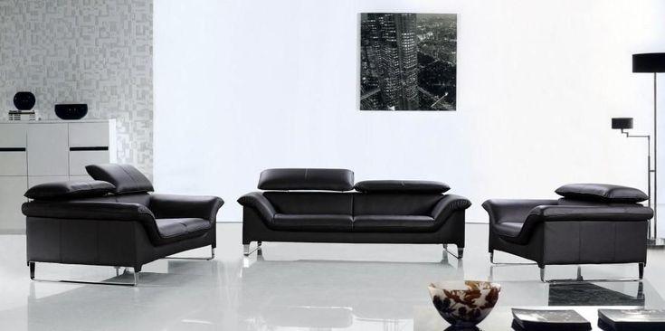 Elite Современный черный кожаный диван Комплект Anaheim California VELITE
