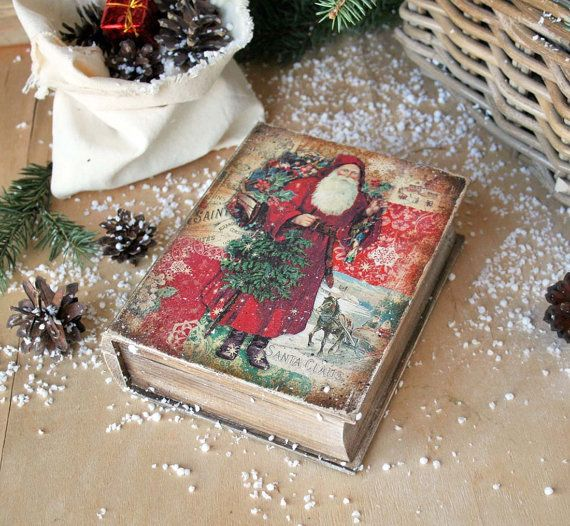 Santa Claus book box Jewelry box Wooden Jewellery от DecoDvorik