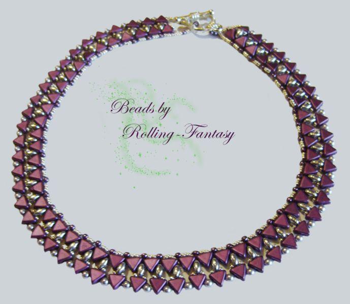 """Collier """"Petite Victoire"""" in Bordeaux und Silber von Beads by Rolling-Fantasy auf DaWanda.com"""