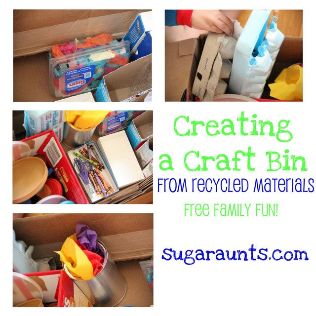 'How to Create a Recycled-materials Craft Bin (Happy Earth Day!)...!' (via sugaraunts.com)