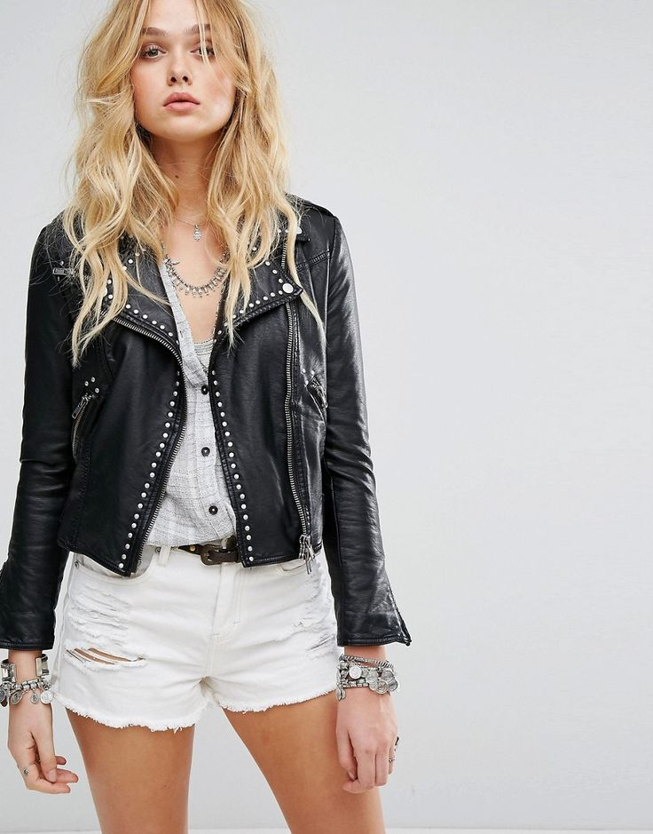 Buy it now. Free People Studded Vegan Moto Jacket - Black. Jacket by Free People, Faux-leather outer, Studded lapels, Asymmetric zip fastening, Functional pockets, Belted waist, Zipped cuffs, Regular fit - true to size, Machine wash, 100% Polyurethane, Our model wears a UK S/EU S/US XS and is 178cm/5'10 tall. With roots back to the �70s, the Free People girl lives through art, fashion, music and wanderlust. She�s feminine in spirit and Bohemian in attitude. From sweet to tough, tomboy to ...