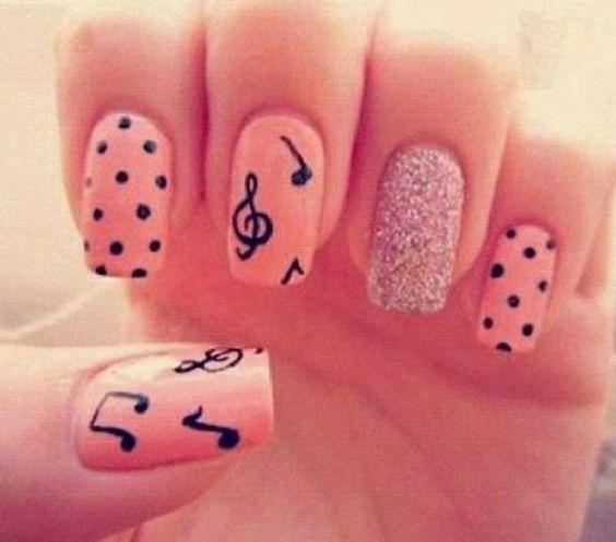 music notes, polka dots on pink nails - 70 Cool Nail Designs   Art and Design:
