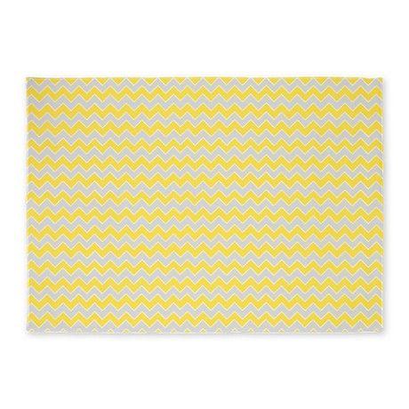 Grey and yellow chevron rug £129