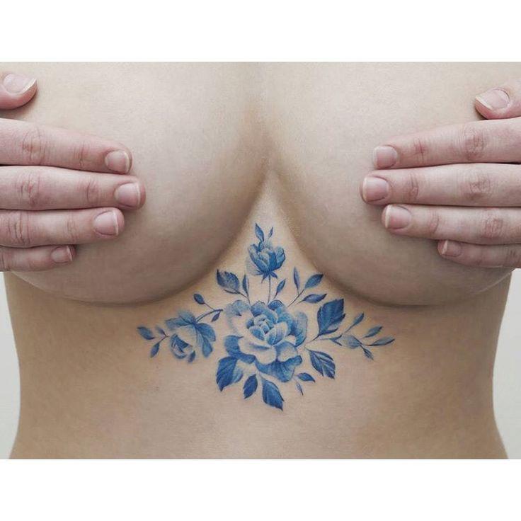 Blue Dutch delft sternum tattoo