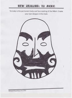 New Zealand Crafts - Free Printable Worksheet to create your own Ta Moko (Maori face tattoos)