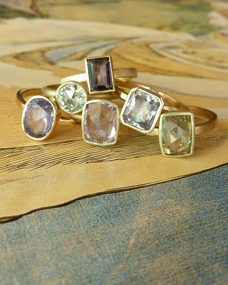 so in love with these rings!    Rose Cut Periwinkle Sapphire Ring. $995.00, via Etsy.