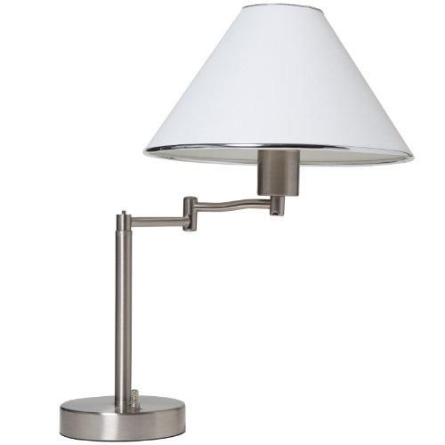 """Boston Harbor Swing Arm Adjustable Table Lamp, Brushed Nickel  Boston Harbor White Swinging Arm Desk Lamp. The desk lamp is a great way to provide light at your desk. Lamp is finished in satin nickel and has a white fabric shade with trim. With the swinging arm, the lamp can provide light wherever you need it and can be adjusted to an overall height of 18-1/2. Uses a 60 watt maximum A-19 bulb (sold separately). """" Features : BOSTON HARBOR"""" Table LAMP *Finish: Brushed Nickel *White fabric…"""