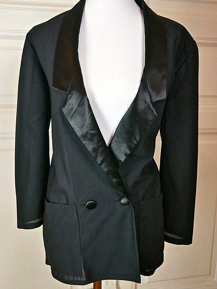 British Vintage Sheer Black Tuxedo Jacket Women's, Size 10 (US), Size 14 (UK), Sheer Black Blazer, Retro Tuxedo Women's, Ladies' Tuxedo by YouLookAmazing on Etsy