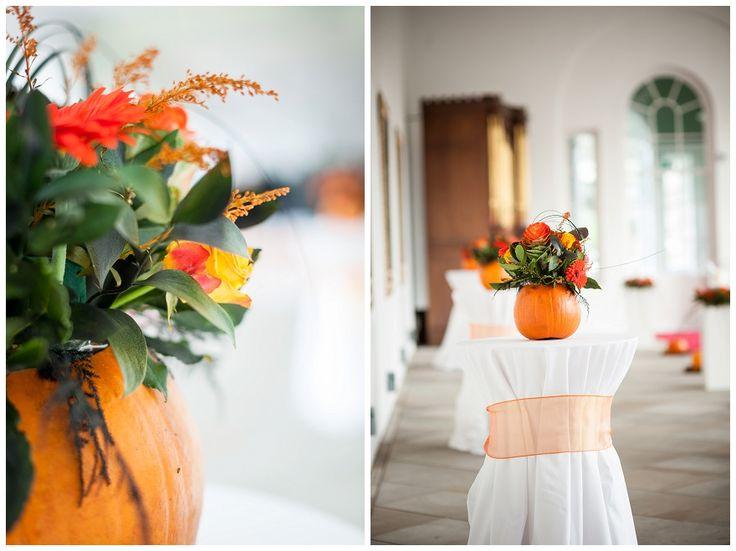 A pumpkin wedding floral display