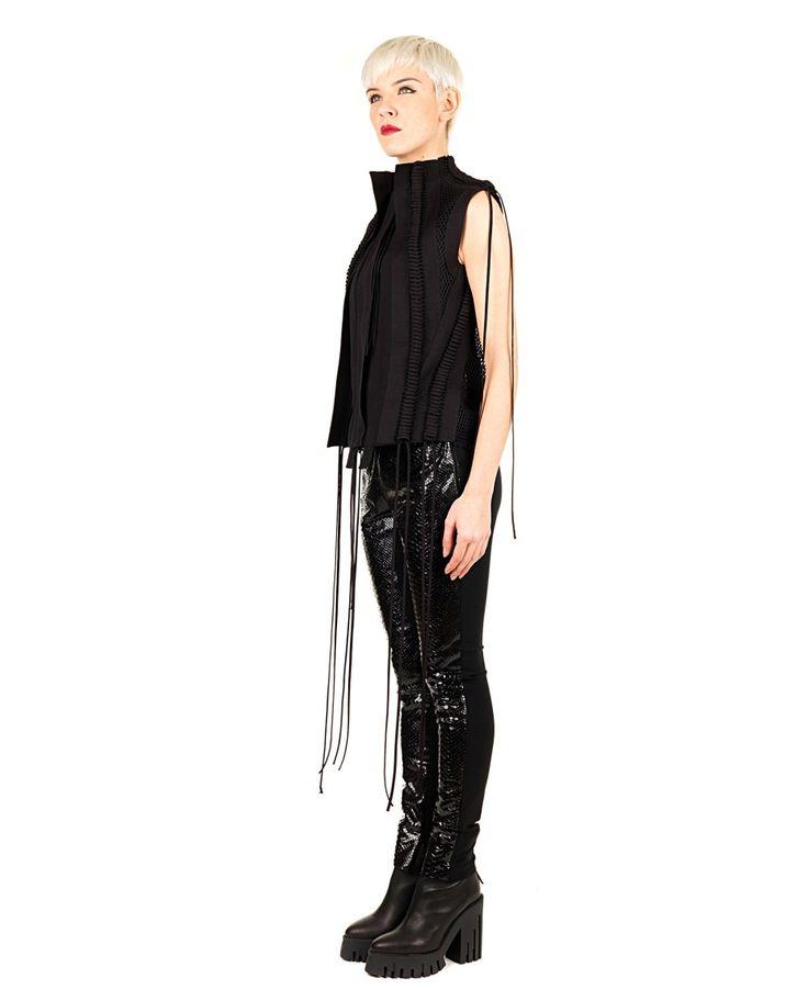 DI LIBORIO Liborio Red Label  black vest  korean neck  laces hanging side  transparent effect on the back  plot Honeycomb  80% CO 20% PL