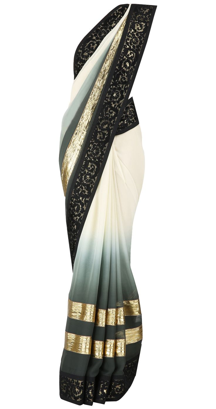 Ivory to grey green ombre sari with velvet appliqué border and gota stripes. It comes with a matching blouse piece, available only at Pernia's Pop Up Shop.