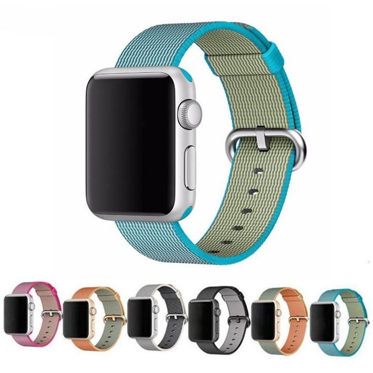 Sport tejida correa de reloj de nylon para apple watch banda de nylon 42mm 38mm pulsera wrist band hombres de smart watch correa de nylon 22 m