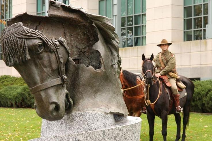 The bronze horse head was originally part of an Australian Light Horse memorial in Egypt. ANZAC Day.