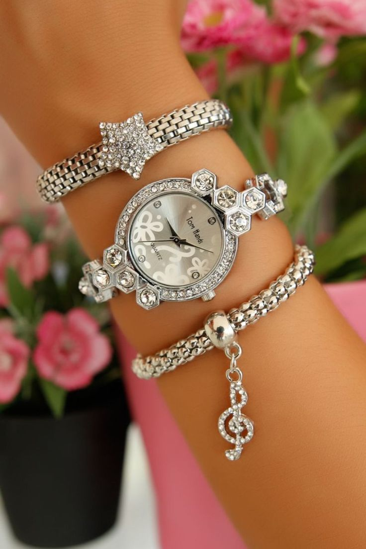 Bracelet Set-Women Watch Cuff Bracelet Set-Unique Wrap Friendship Bracelet-Stackable Bangle Bracelet-Stacking Bracelet-Silver Stone Bracelet by Trinketmart on Etsy