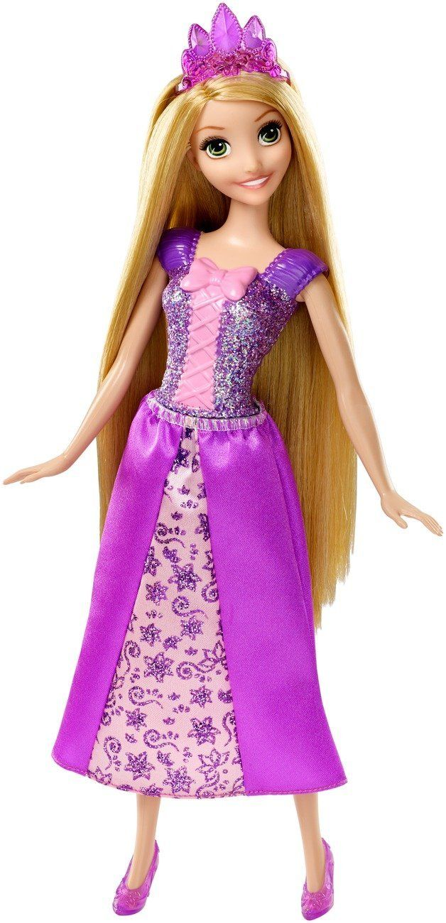 Beloved Princess Rapunzel, from Disney?s animated hit Tangled, absolutely dazzles in head to toe purple sparkling fashions with a unique skirt silhouette that celebrates her personality. She wears a g