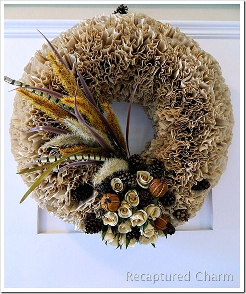 Fall Coffee Filter Wreath from Recaptured Charm! #Fall #Wreaths