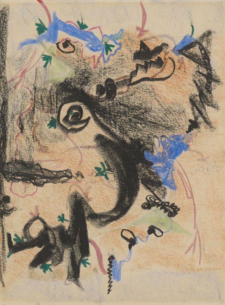 Barnett Newman: Untitled, 1944. Farvekridt og oliekridt, 50,8 x 38,1 cm. Kunstmuseum Basel, Kupferstichkabinett - Gave fra The Barnett and Annalee Newman Foundation - 2014. Foto: Kunstmuseum Basel - Martin P. Bühler