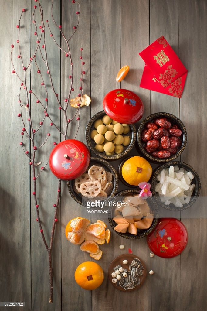 Stock Photo Flat lay Chinese new year food and drink