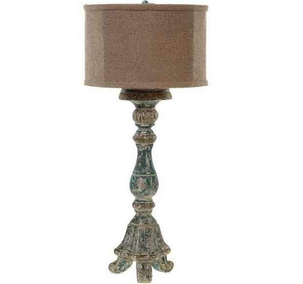 The amazing distressed color of this candlestick lamp will add a soft romantic glow to any of your dark corners for more bedroom table lamps visit antique