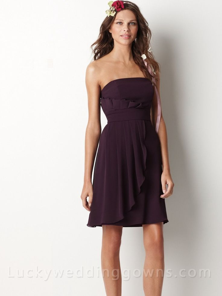 Plum Chiffon Bridesmaid Dress