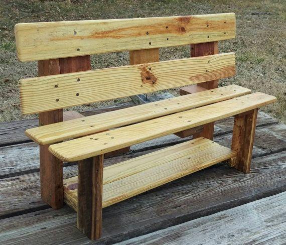 Kind grootte houten bankje met plank Kinder meubilair Pallet hout Home Decor teruggewonnen gerecycleerd meubilair van de slaapkamer van de Bank van meubilair Childs