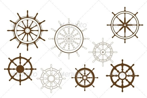 Steering Wheels Set  #GraphicRiver         Steering wheels set for heraldry or marine design.