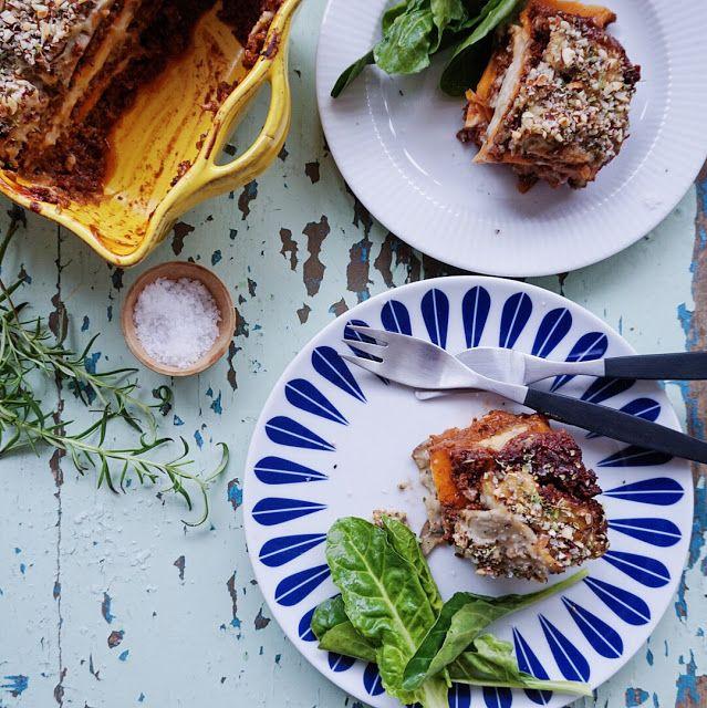 Græsk moussaka med aubergine og sødkartoffel ( V +GF ) &...