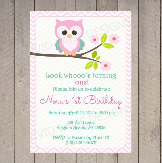 Owl Birthday Invitation - Girl First Birthday, Chevron, Teal and Pink, First Birthday Invitation, Owl First Birthday, 1st, 2nd, 3rd - K001