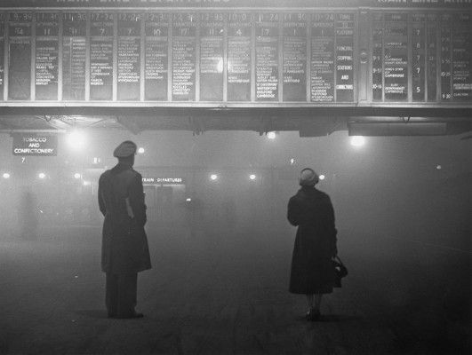 Moody and Atmospheric Picture of Liverpool St Station in 1959- The Great London Smog