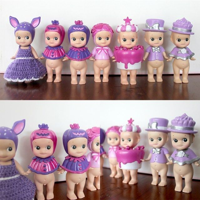 Pink and purple! Another set of custom hand painted Sonny Angels, this time with…