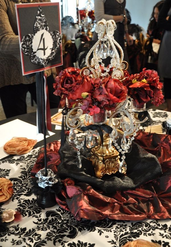 Red black gold table decor damask wedding glamour