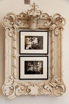 How about surrounding your smaller, more simply framed pieces with a larger, ornate frame?!? Create a larger, more dramatic piece for your wall from things you already may have. A fantastic concept!
