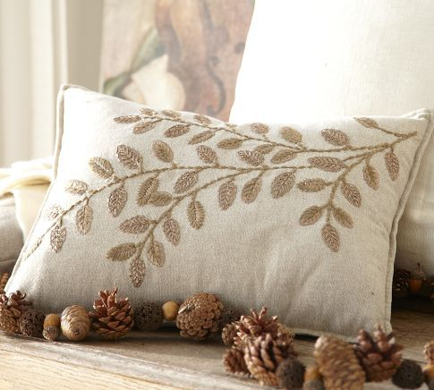 Jeweled Leaf Embroidered Lumbar Pillow