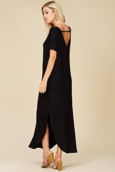 5f01fb35d Annabelle Women's Casual Short Sleeve Curved Hem Split Pocket Maxi Dresses  with Pockets 2X-Large