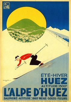 Vintage Railway Travel Poster - L'Alpe d'Huez - France - by Gaston Gorde.