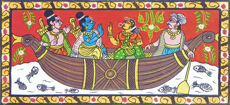 Nishad King Rows Rama, Lakshmana and Sita Accross the River.                                                                                                                                                                                                    (Cheriyal Paintings on Canvas - Unframed)