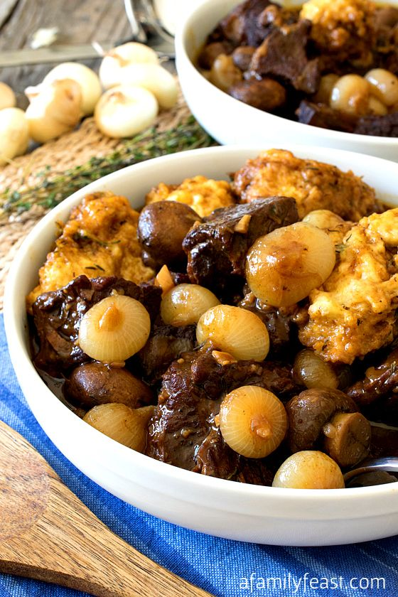 Seared Beef with Cippoline Onions and Horseradish Dumplings - Easy, hearty and delicious!